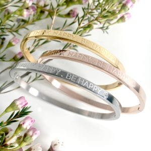 Rose gouden tekst armband met de quote think happy be happy