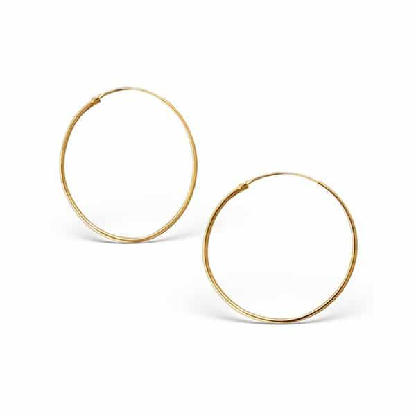 Gold plated 925 zilveren oorringen 30 mm