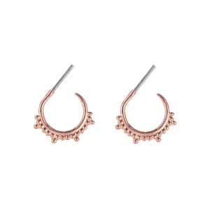 Oorbellen met bolletjes en pointy dots in rose goud