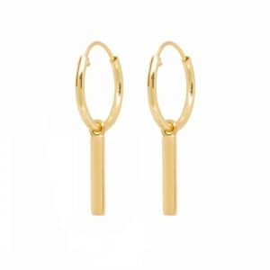 Oorbellen met bar gold plated