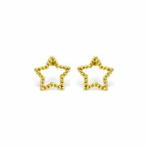 Gold plated 925 zilveren dotted star studs