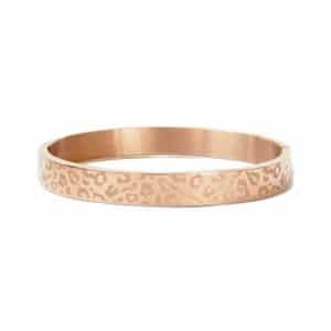 Brede rose gouden luipaard print armband