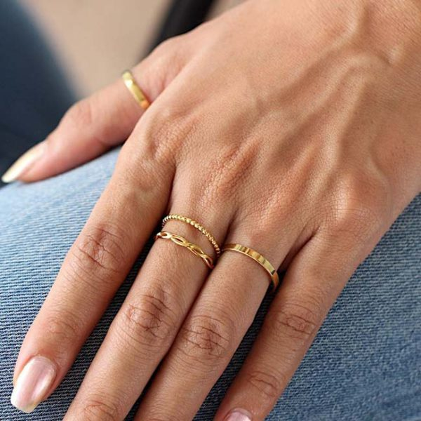 Bolletjes ring goud