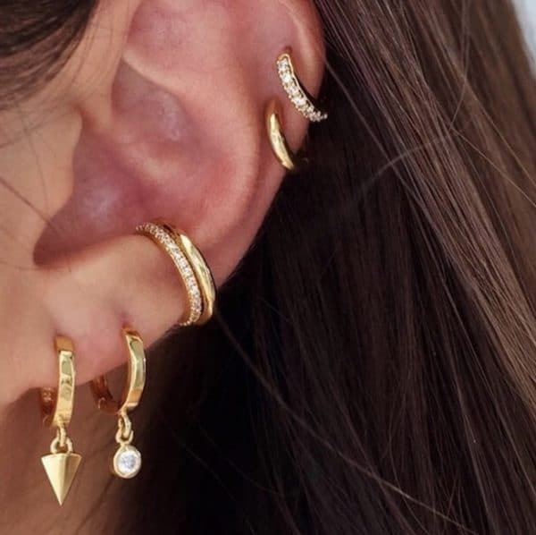 Gold plated 925 zilveren sparkling ear cuff