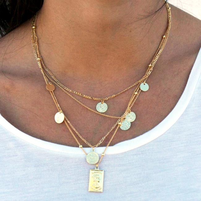 bb25b9a4125 Double Coin Necklace Gold - Capricci