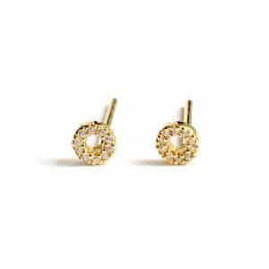 Gold plated 925 zilveren sparkling circle studs