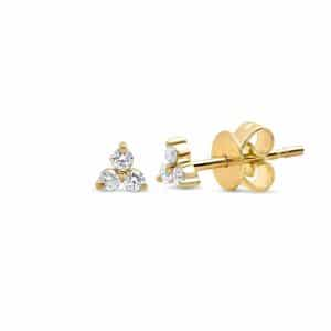 Gold plated 925 zilveren triple sparkle studs