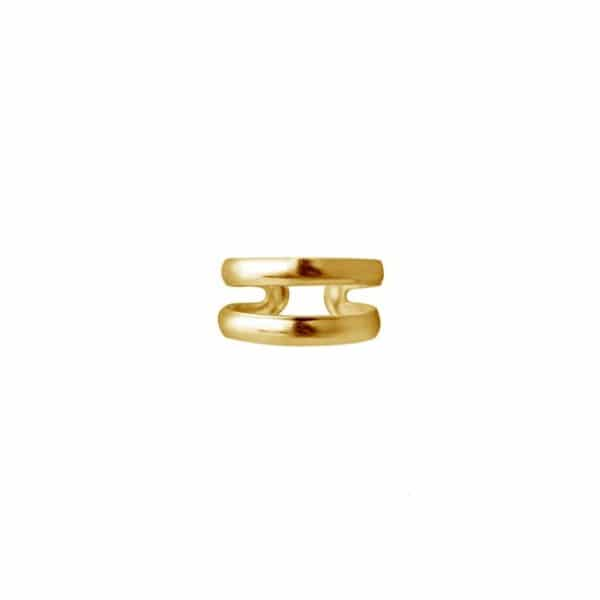 Gold plated 925 zilveren double band ear cuff