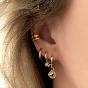Gold plated 925 zilveren huggie earrings