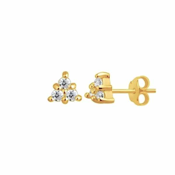 Gold plated 925 zilveren trinity sparkle studs