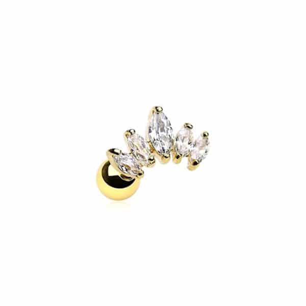 Sparkling crown piercing goud 316L chirurgisch staal