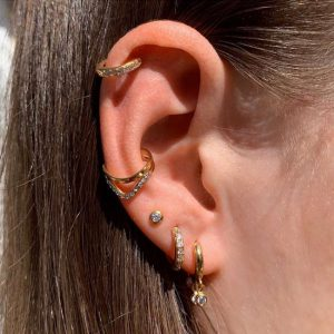 Gold plated 925 zilveren sparkling chevron ear cuff