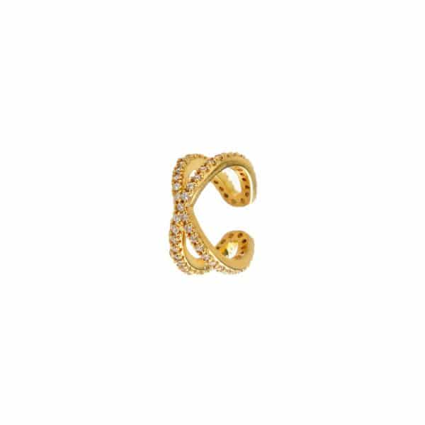 Gold plated 925 zilveren sparkling cross ear cuff