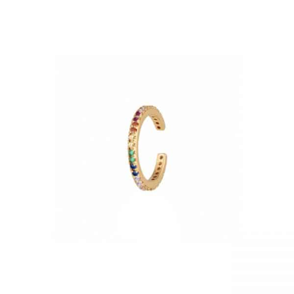 Gold plated 925 Zilveren Rainbow Ear Cuff