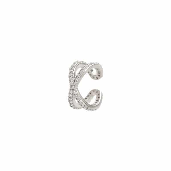925 Zilveren sparkling cross ear cuff