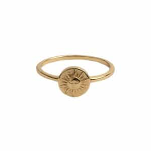 Gouden All the Luck in the World ring met muntje met zon
