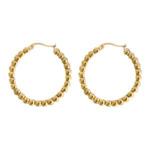 Stainless steel dotted hoops goud