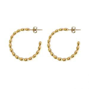 Stainless steel oval dotted hoops goud